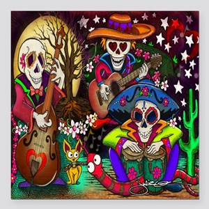 """Day of the Dead Music ar Square Car Magnet 3"""" x 3"""""""