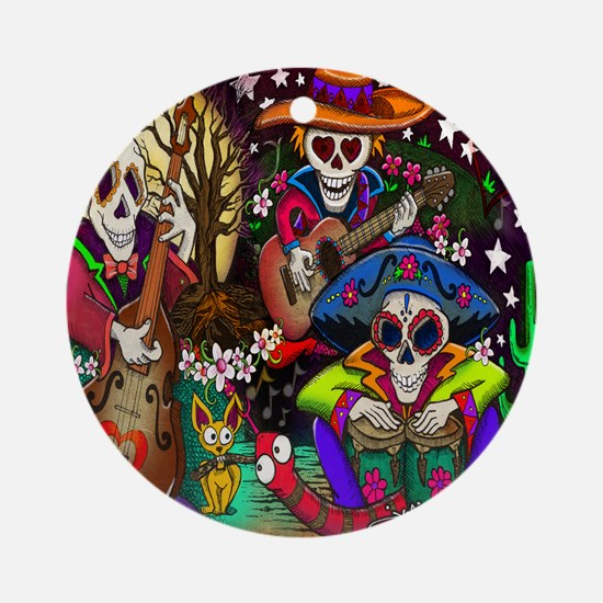 Day of the Dead Music art by Julie  Round Ornament