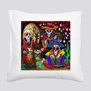 Day of the Dead Music art by  Square Canvas Pillow