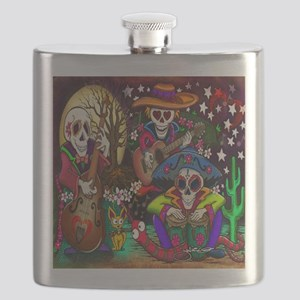 Day of the Dead Music art by Julie Oakes Flask