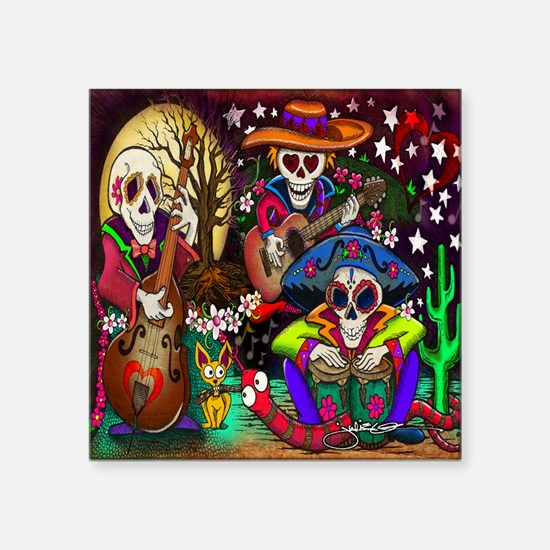 "Day of the Dead Music art b Square Sticker 3"" x 3"""