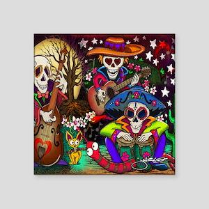 "Day of the Dead Music art b Square Sticker 3"" x 3"""