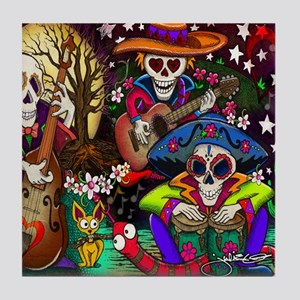 Day of the Dead Music art by Julie Oa Tile Coaster