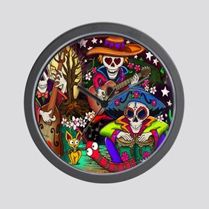 Day of the Dead Music art by Julie Oake Wall Clock