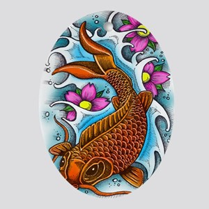 Koi Fish Art by Julie Oakes Oval Ornament