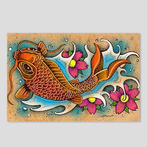 Koi Fish Art by Julie Oak Postcards (Package of 8)