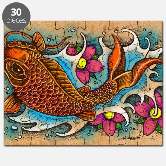 Koi Fish Art by Julie Oakes Puzzle