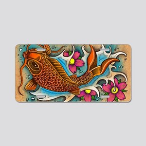 Koi Fish Art by Julie Oakes Aluminum License Plate