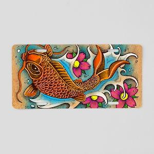 Koi Fish Art by Julie Oakes Aluminum License Plate