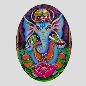 Ganesha Art by Julie Oakes Oval Ornament