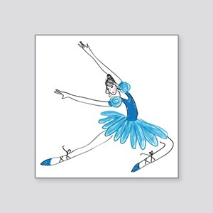"""Blue Ballerina Square Sticker 3"""" x 3"""""""
