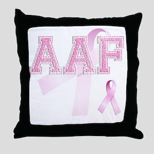 AAF initials, Pink Ribbon, Throw Pillow