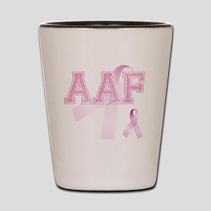 AAF initials, Pink Ribbon, Shot Glass