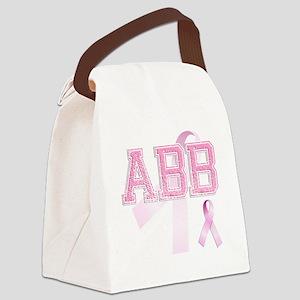 ABB initials, Pink Ribbon, Canvas Lunch Bag