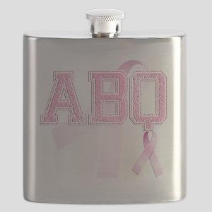 ABQ initials, Pink Ribbon, Flask