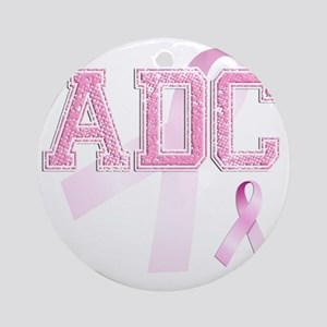 ADC initials, Pink Ribbon, Round Ornament