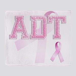 ADT initials, Pink Ribbon, Throw Blanket