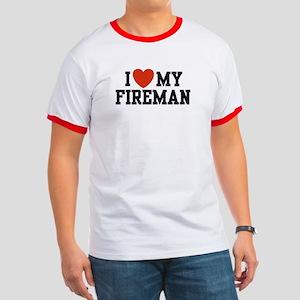 I Love My Fireman Ringer T