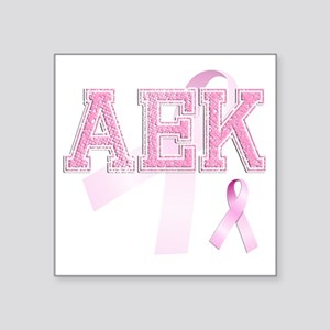 "AEK initials, Pink Ribbon, Square Sticker 3"" x 3"""