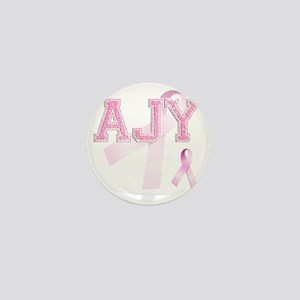 AJY initials, Pink Ribbon, Mini Button