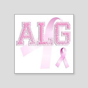 """ALG initials, Pink Ribbon, Square Sticker 3"""" x 3"""""""
