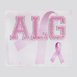ALG initials, Pink Ribbon, Throw Blanket