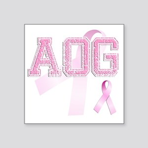 "AOG initials, Pink Ribbon, Square Sticker 3"" x 3"""
