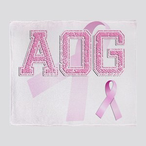 AOG initials, Pink Ribbon, Throw Blanket