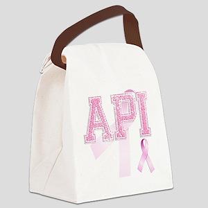 API initials, Pink Ribbon, Canvas Lunch Bag