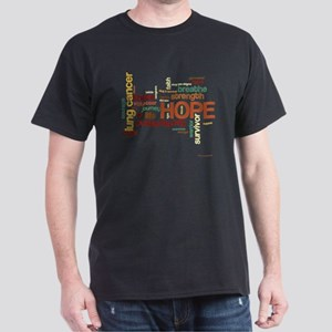 Lung Cancer Word Art (dk) Dark T-Shirt