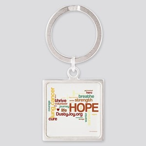 Lung Cancer Word Art (dk) Square Keychain