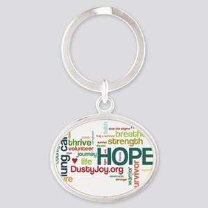 Lung Cancer Word Art (lt) Oval Keychain