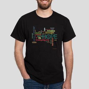 Lung Cancer Word Art (lt) Dark T-Shirt