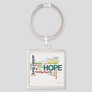Lung Cancer Word Art (lt) Square Keychain