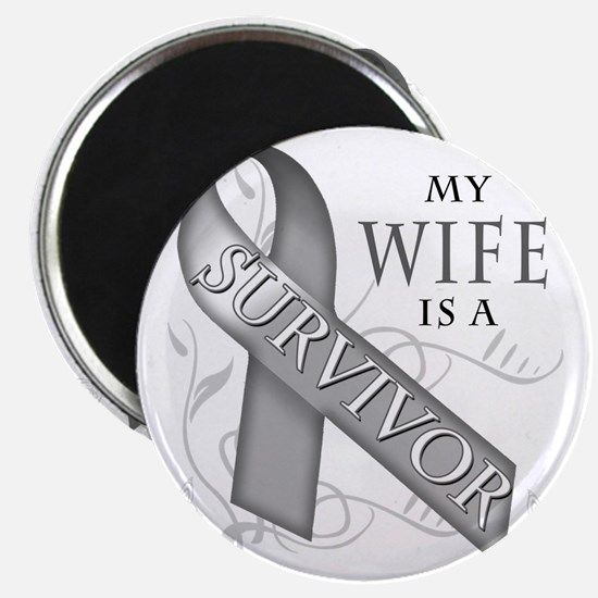 My Wife is a Survivor (grey) Magnet