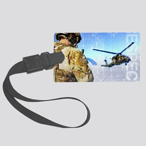 Military Grunge Poster: Respect. Large Luggage Tag