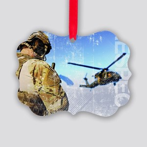 Military Grunge Poster: Respect.  Picture Ornament