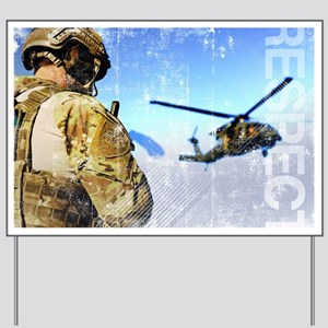 Military Grunge Poster: Respect. A parar Yard Sign