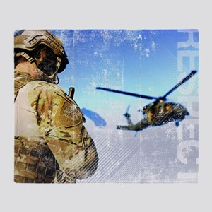 Military Grunge Poster: Respect. A p Throw Blanket
