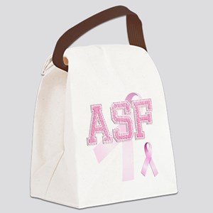ASF initials, Pink Ribbon, Canvas Lunch Bag