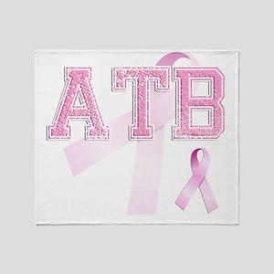 ATB initials, Pink Ribbon, Throw Blanket