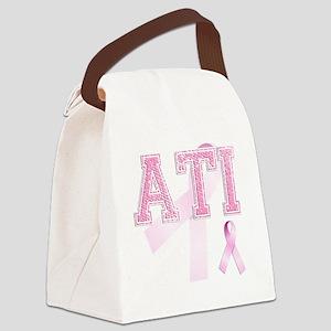 ATI initials, Pink Ribbon, Canvas Lunch Bag
