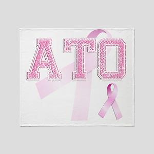 ATO initials, Pink Ribbon, Throw Blanket