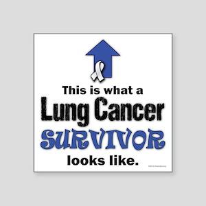 """Lung Cancer Survivor (lt) Square Sticker 3"""" x 3"""""""