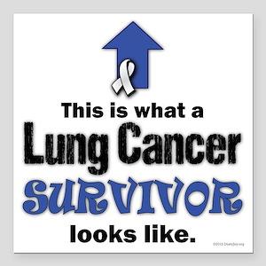 "Lung Cancer Survivor (lt Square Car Magnet 3"" x 3"""