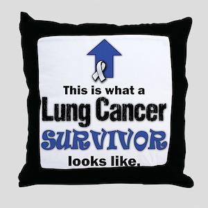 Lung Cancer Survivor (lt) Throw Pillow