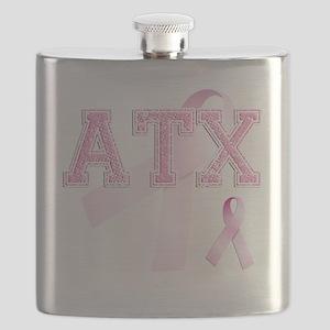 ATX initials, Pink Ribbon, Flask