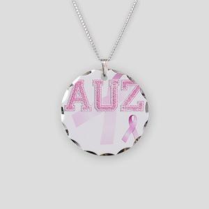 AUZ initials, Pink Ribbon, Necklace Circle Charm