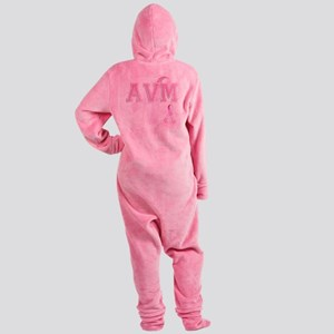 AVM initials, Pink Ribbon, Footed Pajamas
