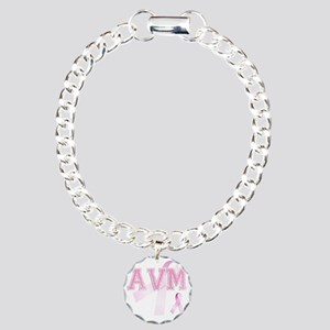 AVM initials, Pink Ribbo Charm Bracelet, One Charm